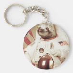 Astronaut Sloth Basic Round Button Key Ring
