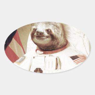 Astronaut Sloth Oval Sticker