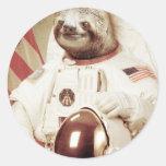 Astronaut Sloth Round Sticker