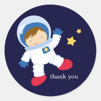 Astronaut Space Birthday Party Classic Round Sticker