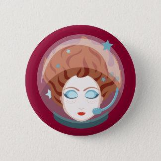 Astronaut Space Girl Button