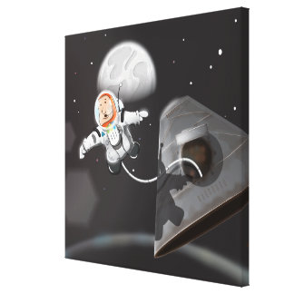 Astronaut Space Walk outside capsule Canvas Prints