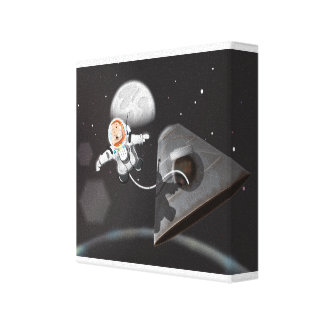 Astronaut Space Walk outside capsule Stretched Canvas Prints