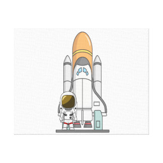 Astronaut & Spaceship Stretched Canvas Prints