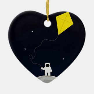 Astronaut with a Kite Ceramic Heart Decoration