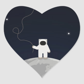 Astronaut with a Kite Heart Sticker