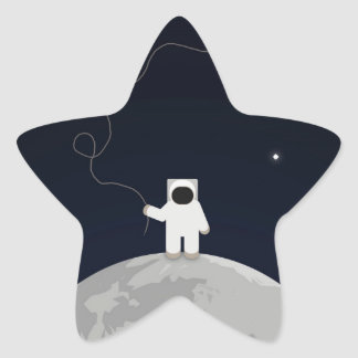 Astronaut with a Kite Star Sticker
