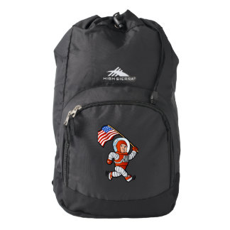 Astronaut with american flag backpack