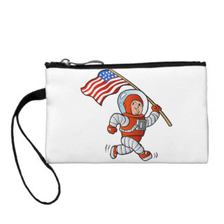 Astronaut with american flag change purse