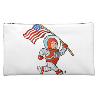 Astronaut with american flag cosmetic bags