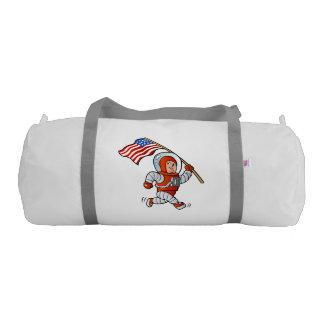 Astronaut with american flag gym duffel bag