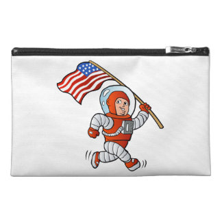 Astronaut with american flag travel accessory bag