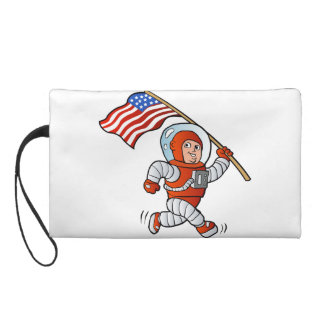 Astronaut with american flag wristlet clutch