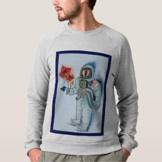 astronaut with flowers sweatshirt