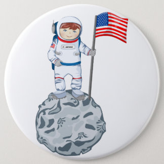 Astronaut with name tag 6 cm round badge