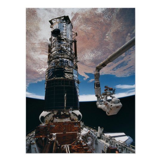 Astronaut working on the Hubble Space Telescope Poster