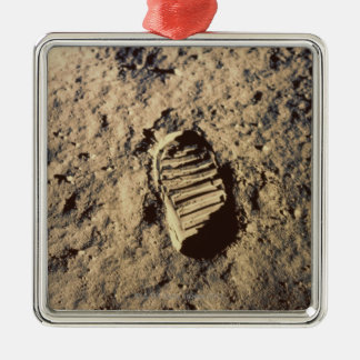 Astronaut's Footprint Silver-Colored Square Decoration