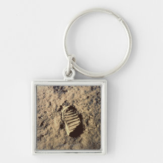 Astronaut's Footprint Silver-Colored Square Key Ring