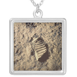 Astronaut's Footprint Silver Plated Necklace