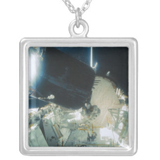 Astronauts Repairing a Satellite in Space Silver Plated Necklace