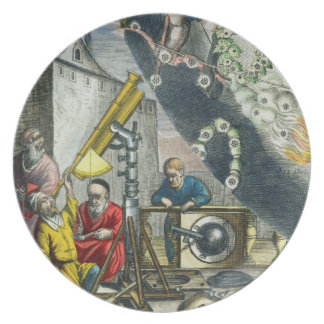 Astronomers looking through a telescope, detail fr plate