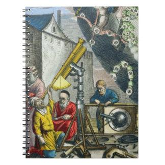 Astronomers looking through a telescope, detail fr spiral notebook