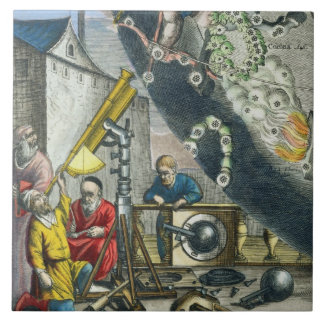Astronomers looking through a telescope, detail fr tile