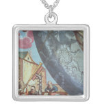 Astronomers looking through a telescope square pendant necklace