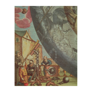 Astronomers looking through a telescope wood wall art