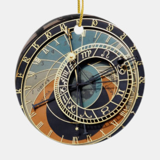 Astronomical Clock In Praque Round Ceramic Decoration