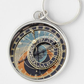 Astronomical Clock In Praque Silver-Colored Round Key Ring