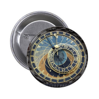 Astronomical Clock or Prague Orloj 6 Cm Round Badge