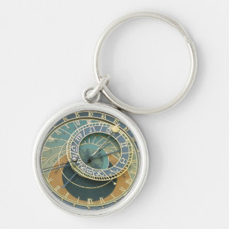 Astronomical Clock Silver-Colored Round Key Ring