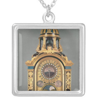 Astronomical clock silver plated necklace