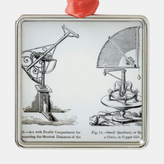 Astronomical Instruments Silver-Colored Square Decoration