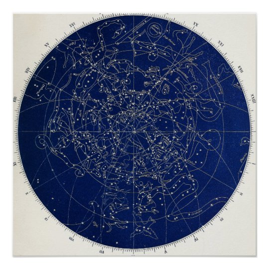 Astronomy Constellations Map Poster