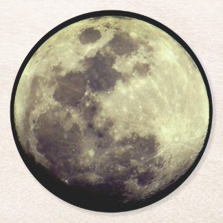 Astronomy   Detailed Moon Round Paper Coaster
