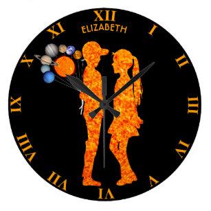 24d5272d84e51 Astronomy Solar System Milky Way Girl Boy Love Large Clock