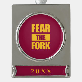 ASU Fear the Fork Silver Plated Banner Ornament