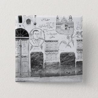 Aswan Egypt, Decorated House 15 Cm Square Badge