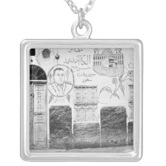 Aswan Egypt, Decorated House Silver Plated Necklace
