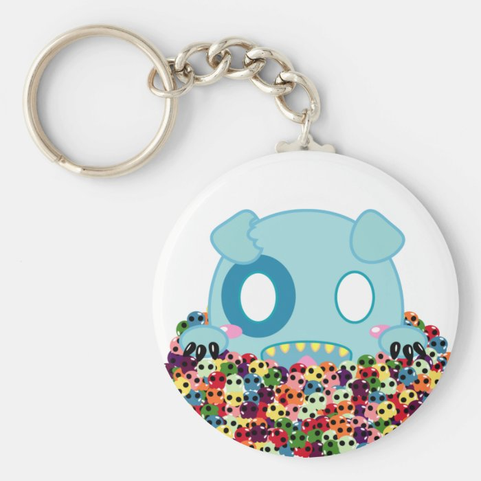 Asyl the Dog - Sugar Skulls Basic Round Button Key Ring