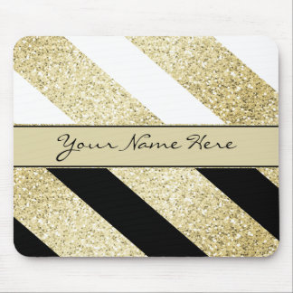 Asymmetric Black White and Gold Diagonal Stripes Mouse Mat