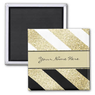 Asymmetric Black White and Gold Diagonal Stripes Square Magnet