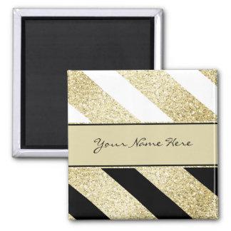 Asymmetric Black White and Gold Diagonal Stripes Square Magnet