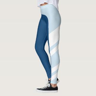 Asymmetric Side Band Blue Shades Leggings