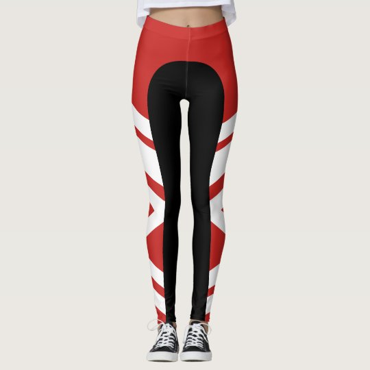 Asymmetric Side Band Red/Black/White Leggings