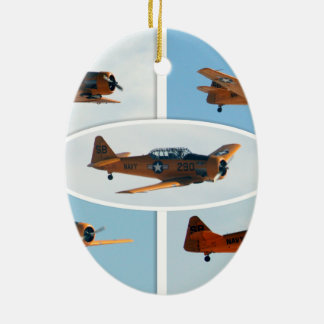 AT-6 Texan WWII  War Plane Ceramic Oval Decoration