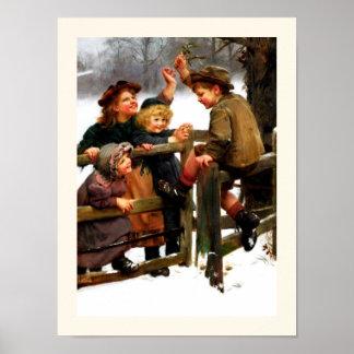 """At Bay"". Vintage Christmas Art by Arthur Elsley Poster"