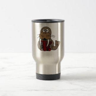 AT- Funny Walrus Playing Accordion Cartoon Travel Mug
